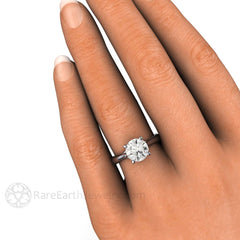 2ct White Sapphire Solitaire Wedding Ring on Finger Rare Earth Jewelry