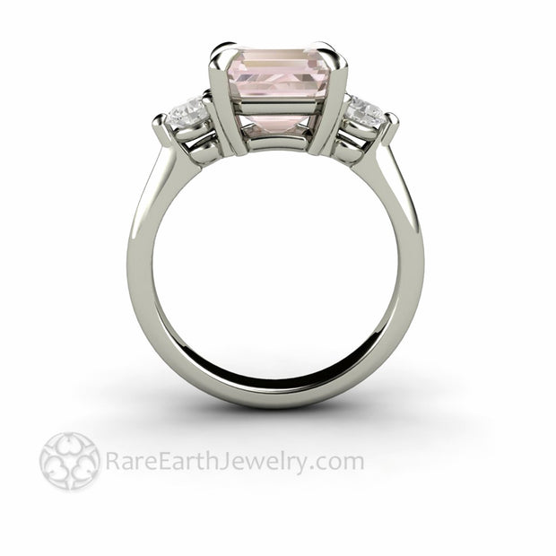 Side View of 3 Stone Asscher Morganite Engagement Ring Thru the Finger