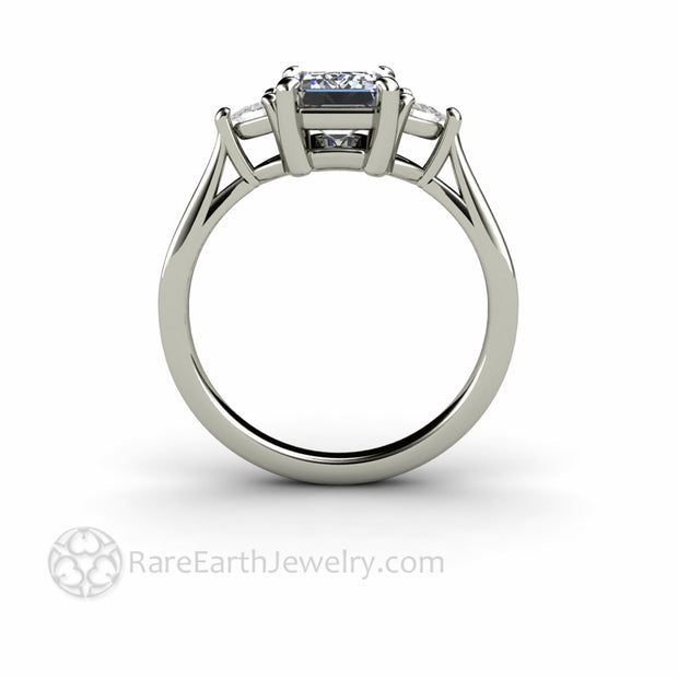 Gray Moissanite Engagement Ring Emerald Cut 3 Stone with Trillions