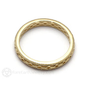 Vintage Style Gold Wedding Anniversary Band