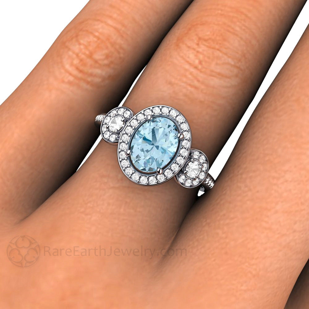 rings woven engagement listing halo diamond aqua stone birthstone ring aquamarine prong march gold oval or in il