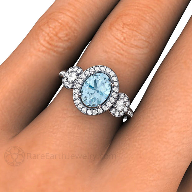 Oval Halo Aquamarine Ring March Birthstone Rare Earth Jewelry
