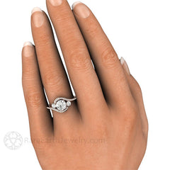 Bypass 3 Stone Diamond Anniversary Ring on Finger 14K