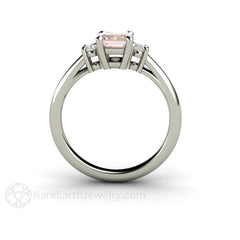 Rare Earth Jewelry Three Stone Morganite and Diamond Wedding Ring Emerald Cut