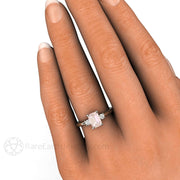 Rare Earth Jewelry Emerald Morganite 3 Stone Engagement Ring on Finger