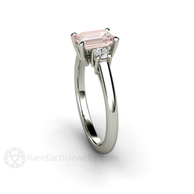 Rare Earth Jewelry Morganite Bridal Ring 3 Stone Emerald Cut 14K White Gold