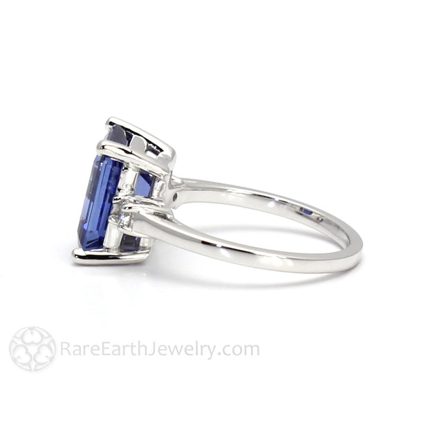 Rare Earth Jewelry Blue Sapphire and Diamond Three Stone Ring Emerald Cut September Birthstone or Anniversary