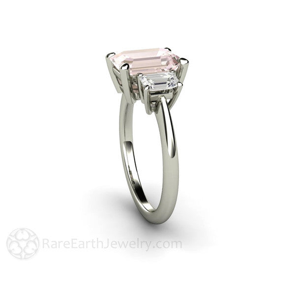 Rare Earth Jewelry Pink Emerald Cut Morganite Wedding Ring with White Sapphires