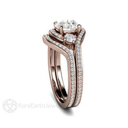 Rare Earth Jewelry 3 Stone Bypass Diamond Ring and Wedding Band Set