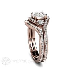 3 Stone Bypass Diamond Ring and Wedding Band Set