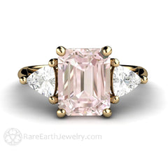 18K Gold Morganite Anniversary Ring Sapphire Trillion Gemstones