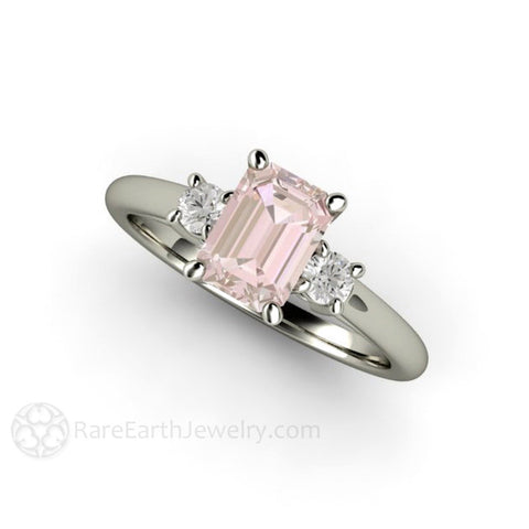 3 Stone Morganite Ring Emerald Cut Solitaire with Diamonds