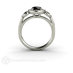 Unique Black Diamond 3 Stone Halo Ring Rare Earth Jewelry