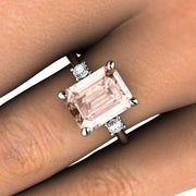 3 Stone Emerald Cut Morganite and Diamond Ring Rare Earth Jewelry