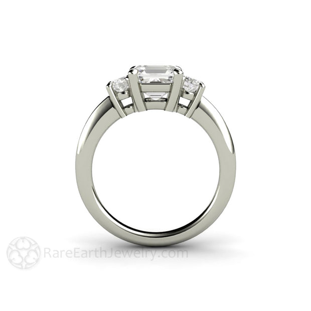 Rare Earth Jewelry 3 Stone All Moissanite Ring Asscher and Round Cut Stones 14K or 18K Gold