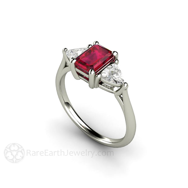 Rare Earth Jewelry Ruby Ring Emerald Cut with White Sapphires Vintage Style Anniversary or July Birthstone 14K or 18K Gold