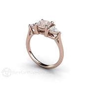 3 Stone Cushion Pink and White Sapphire Bridal Ring Rare Earth Jewelry