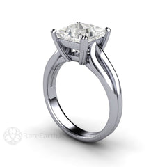Rare Earth Jewelry Moissanite Bridal Ring Princess Cut Solitaire