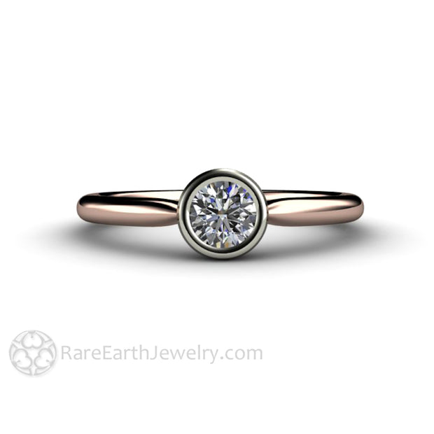 Round Diamond Bridal Ring Rose and White Gold Bezel Setting Simple and Inexpensive Rare Earth Jewelry