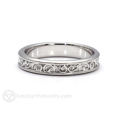 Rare Earth Jewelry Art Deco Scroll Wedding Ring Anniversary Band