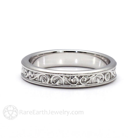 4mm Wedding Band Vintage Style with Filigree