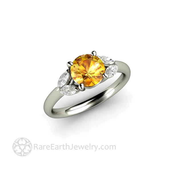 Yellow Sapphire and Diamond Engagement Ring - Rare Earth Jewelry