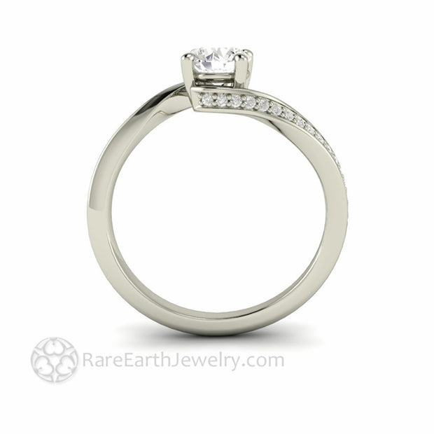 50ct Lab Created Diamond Solitaire Engagement Ring with pave diamonds by Rare Earth Jewelry