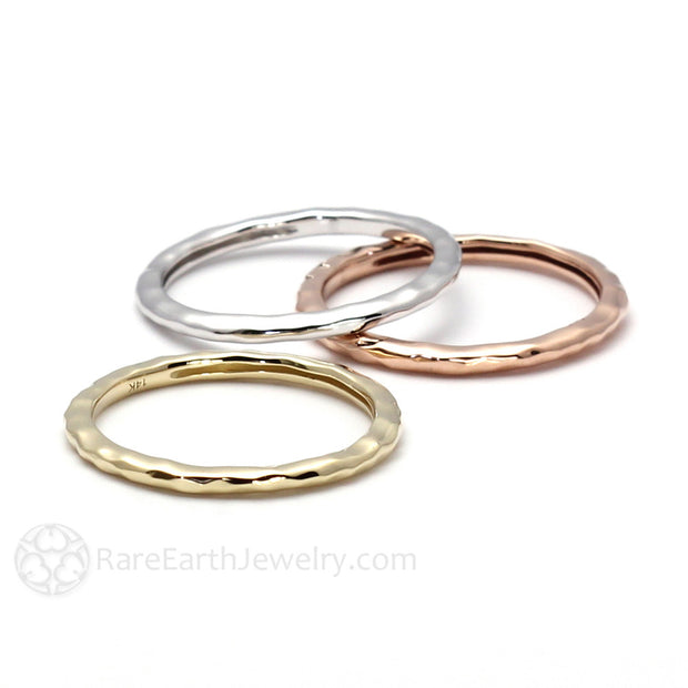 Gold Hammered Stacking Rings Rare Earth Jewelry