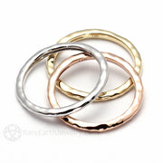 14K Gold Stacking Rings Right Hand Stackable Band Rare Earth Jewelry