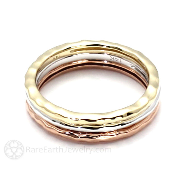 18K Gold Hammered Stacking Bands Stackable Ring Rare Earth Jewelry