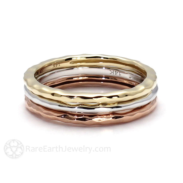 Rare Earth Jewelry 14K Gold Hammered Stacking Ring