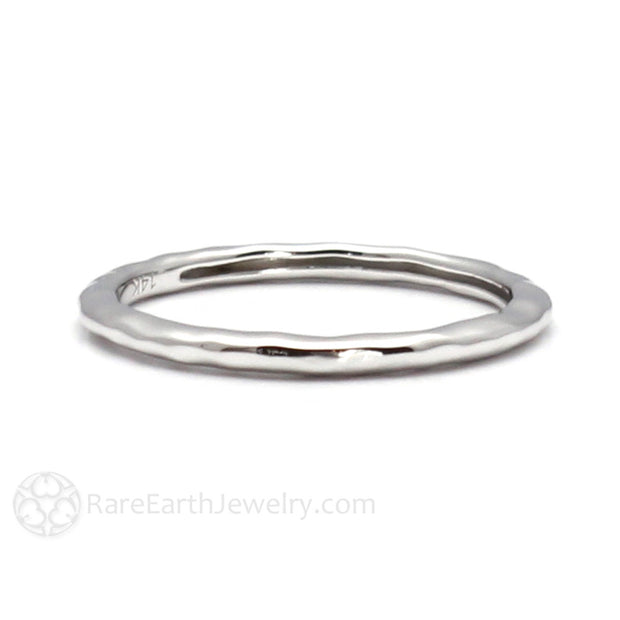 White Gold Hammered Band Stacking Wedding Ring Rare Earth Jewelry