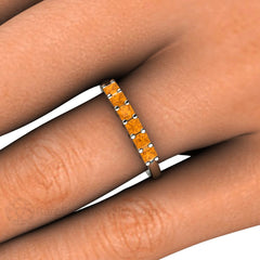 Princess Cut Citrine Stacking Ring on Finger Rare Earth Jewelry