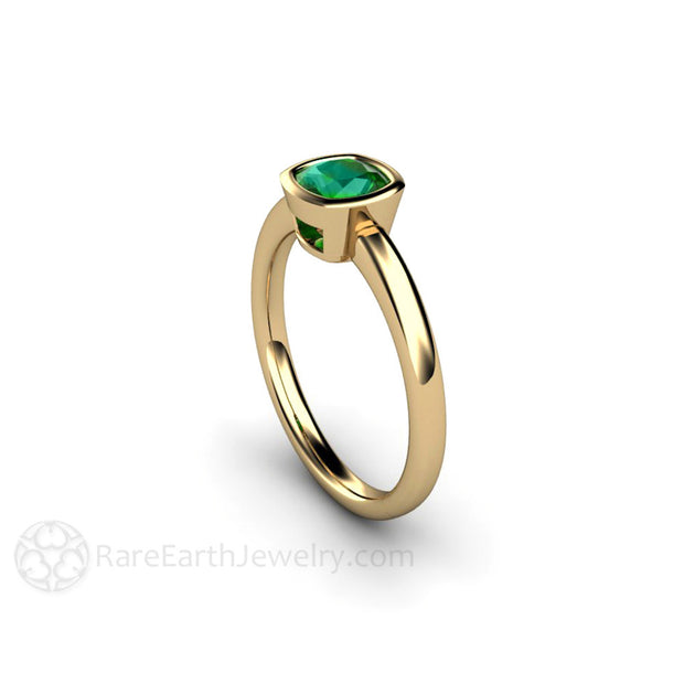Bezel Set Green Tourmaline Cushion Cut 14K Yellow Gold Solitaire Ring Rare Earth Jewelry