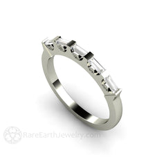 Baguette Diamond 5 Stone Anniversary Ring Rare Earth Jewelry