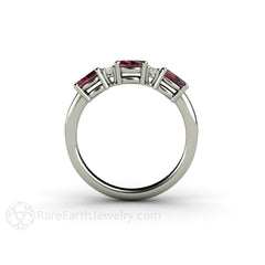 Oval Rhodolite and Diamond Band 14K Gold Rare Earth Jewelry