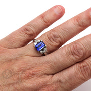 Rare Earth Jewelry Emerald Blue Sapphire Bridal Ring Marquise Diamond Side Stones