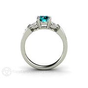 6 Stone Blue and White Diamond Ring Rare Earth Jewelry