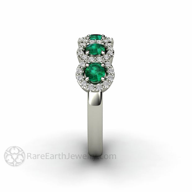 Rare Earth Jewelry White Gold Emerald Band with Round Cut Natural Gemstones and Diamond Accents
