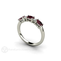 Diamond and Oval Garnet Stacking Ring or January Birthstone Band Rare Earth Jewelry