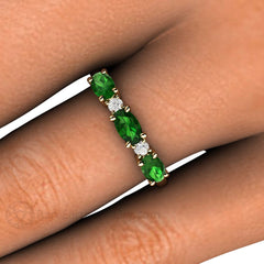 Diamond and Green Tourmaline East West Band on Finger Rare Earth Jewelry