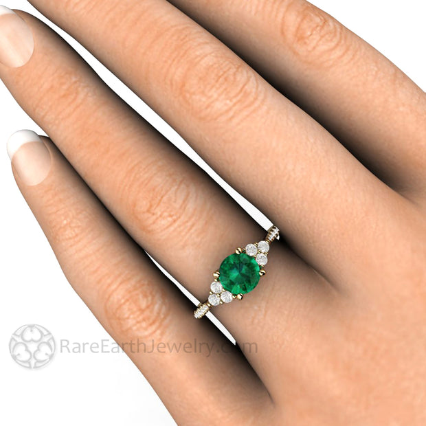 6.5mm Round Emerald Engagement Ring on Finger Diamond Cluster 3 Stone Rare Earth Jewelry