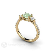 14K Round Cut Moissanite Ring Pastel Green Moissanite with Diamonds Rare Earth Jewelry