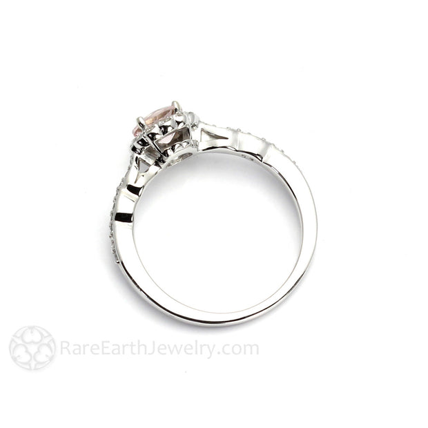 Peachy Pink Round Cut Morganite Ring Diamond Halo 14K White Gold Rare Earth Jewelry