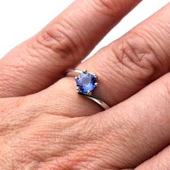 Ceylon Blue Sapphire Ring on Finger Rare Earth Jewelry
