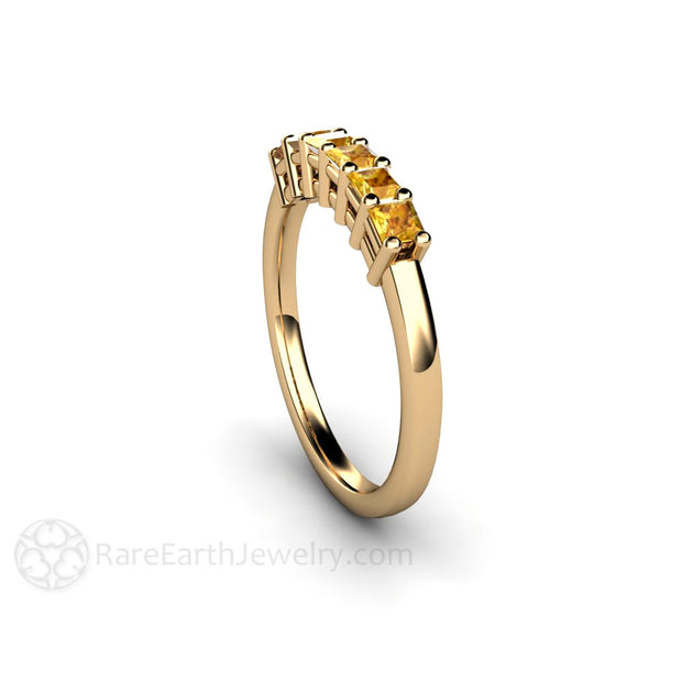Yellow Princess Sapphire Bridal Band or Anniversary Ring Rare Earth Jewelry