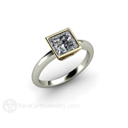 6mm Square Cut Moissanite Solitaire Ring Bezel Setting Charles and Colvard Forever One handmade by Rare Earth Jewelry