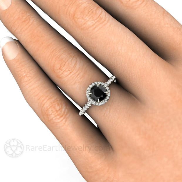 6mm Black Diamond Engagement Ring on Finger Rare Earth Jewelry