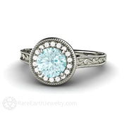 Blue Moissanite Wedding Ring Round Cut Diamond Halo Rare Earth Jewelry