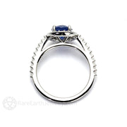 Rare Earth Jewelry Blue Sapphire Diamond Halo Wedding Ring